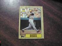 BARRY BONDS , PIRATES , GIANTS 1987 TOPPS BASEBALL CARD #320 ROOKIE CARD , MINT