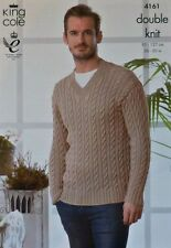 KNITTING PATTERN Mens Long Sleeve V-Neck Cable Jumper Cotton DK King Cole 4161