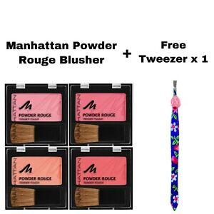 MANHATTAN POWDER ROUGE TENDER TOUCH BLUSHER *CHOOSE COLOUR* & FREE TWEEZER x 1