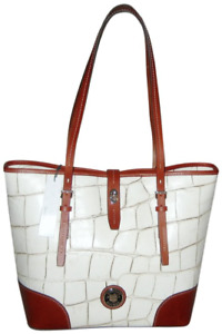 $368 NWT DOONEY & BOURKE DENISON DOVER CROC EMBOSSED LEATHER TOTE BAG BONE