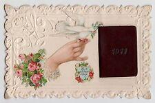 POSTCARD - novelty, applied bird on hand, flowers, 1911 French calendar/almanac