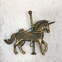 Carousel Unicorn Horse Brooch Pin Brass Color / Fashion Costume Estate Jewelry