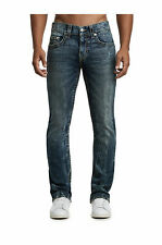 True Religion Mens Straight Earthworm Big T Jeans Size 36 x 34 Nwt Trail of Blue