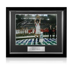 Martin Johnson Signed England Rugby Photo: On The Podium. Deluxe Frame