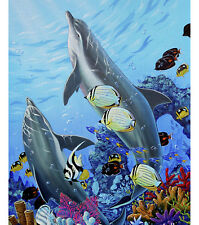 NEW BEAUTIFUL LARGE TWO DOLPHINS IN SEA FOR QUILTS HOME DECOR & OTHER PROJECT #1
