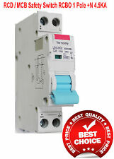 RCD / MCB Safety Switch Circuit Breaker Single RCBO 1 Pole +N 4.5Ka 16A