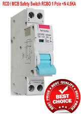 RCD / MCB Safety Switch Circuit Breaker Single RCBO 1 Pole +N 4.5Ka 16A