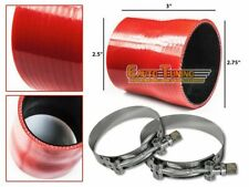 "2.75"" To 2.5"" Silicone Pipe Hose Coupler RED +T-Bolt Clamp For Porsche / Scion"