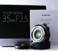 Almost UNUSED in BOX Voigtlander Color-Skopar 35mm F/2.5 Lens Leica M from JAPAN