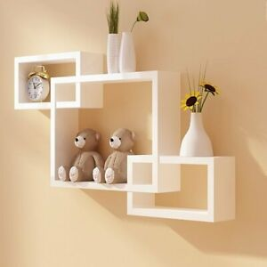 3 Cubes Intersecting Boxes Wall Shelf Home Deco Storage Wall Mount Shelves White