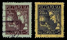 1927 POLAND #B26-27 SEMI POSTAL - KNOWLEDGE - USED - VF - CV$19.00 (ESP#1432)