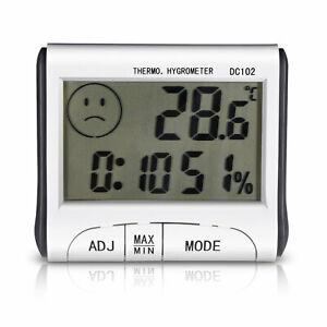 MINI DIGITAL INDOOR THERMOMETER HYGROMETER CLOCK HUMIDITY METER TEMPERATURE LCD