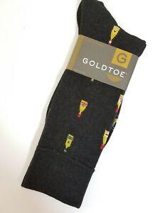 Gold Toe Men's Socks Crew Size 6 - 12 Novelty Wine Bottles Vino Brown