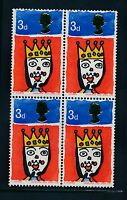GB 1966 CHRISTMAS 3d MISSING T VARIETY BLOCK of 4...SG713c...L1