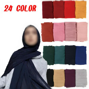 Women's Pleated Chiffon Wrinkle Stripe Shawls Hijab Muslim Scarves Wraps Scarf