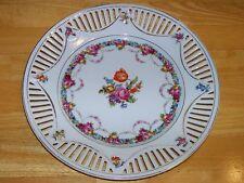 "Vintage Schumann Bavaria Plate Flowers garlands pierced reticulated china 10.5"""