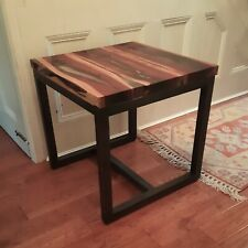 """Timothy Oulton """"Trapt"""" Side Table Resin and Exotic Wood Planks on Steel Frame"""