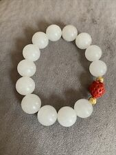 White Jade Beads With Cinnabar Bead Bracelet Estate