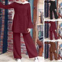 Women UK Long Sleeve Ruffles Hem Tops Vintage Wide Leg Baggy Pant Trousers Suits