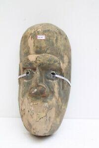 1900's Vintage Old Hand Carved Wooden Folk Tribal Wall Hanging Mask NH2201