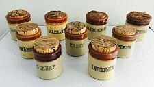 Vintage Set 9 - MOIRA Pottery, DUTCH / DANISH Stoneware Spice Jars w Cork Tops