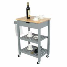Rolling Kitchen Storage Trolley Cart Cupboard Island Shelves With Locking Wheels