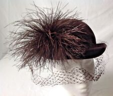 Filbert Orcel Brown Velour Hat w Netting Feathery Pom Pom Vintage Reproduction