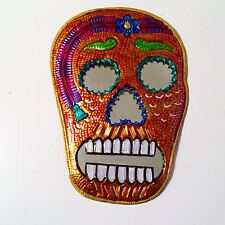 Day of the Dead Painted Skull Mirror Orange #14