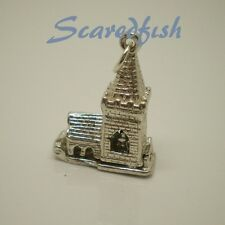 """3D Vintage Style """"CHURCH""""  Opening to Bride & Groom Charm Pendant"""