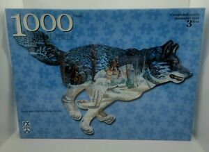 """FX Schmid 1000 Piece Shaped Puzzle ~ WOLF """"The Tracker"""" ~ 3 Ft Long ~ Sealed"""