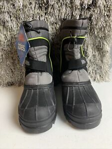 Youth boots TOTES Kid's  Black and Gray Waterproof Winter Snow Size 5 M
