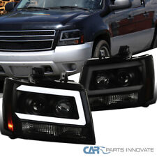 LED DRL Bar For 07-14 Avalanche Suburban Tahoe Black/Smoke Projector Headlights