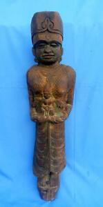 1800'c Antique Indian Goddess In Hand Angel figurine Wooden Wall Hanging Penal