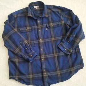 Carhartt Blue Flannel Shirt 3XL Windowpane Gray Plaid Work Shirt 100% Cotton