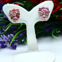 NATURAL PINK TOURMALINE & WHITE CZ EARRINGS 925 STERLING SILVER