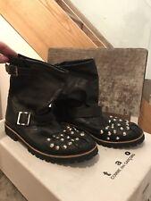 Tao Commes Des Garcons Black Studded Leather Biker Boots Ladies Size Medium 7