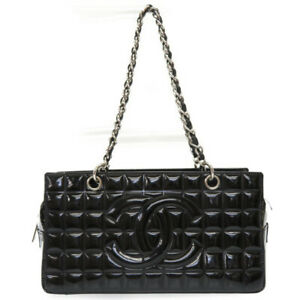 Auth CHANEL Chocolate bar Chain Shoulder Bag Patent leather U2005ZBHS5