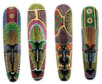 African Wood Mask Hand Carved Painted Ceremonial Tribal Tiki Aboriginal Dot