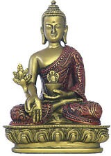 Nepali Medicine Buddha Statue Small for Desktop Gold Red O-080GR