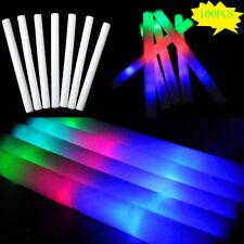 100 PCS Light Up LED Foam Glow Sticks  Wands Rally Rave Batons Flashing Party DJ