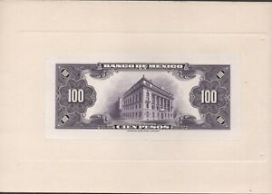 Mexico  100  Pesos 1.9.1936   back Proof on a card board  Uncirculated Banknote