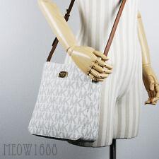 New Michael Kors Vanilla JET SET Logo Large Messenger Bag Cross Body Purse $268