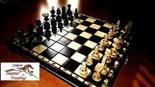 """SPLENDIDA """"PERLA"""" 35x35 set di scacchi in legno con ornamenti bruciato"""