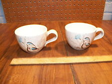 """Vintage Pair of RED WING POTTERY """"BOB WHITE"""" Coffee Cups"""