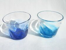 Pair of Deep Blue & Water Blue SAKE Glass Cups (Handmade in Okinawa, Japan)