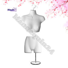 Female Mannequin Bust & Butt Forms Set w/1 Stand + 2 Hangers - White Dress Forms