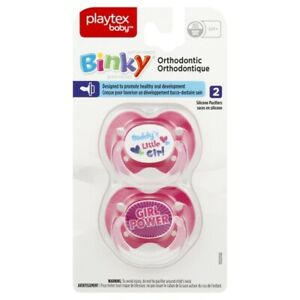 Playtex Baby Binky Orthodontic Silicone Pacifier, 6M+, 2 count, Pink