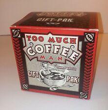 TOO MUCH COFFEE MAN 1998 Gift Pack BIG MUG XL T-Shirt CLOISONNE PIN New Old Box