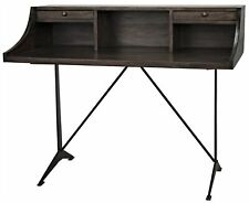 "48"" W Desk Solid Walnut Wood Raised Ledge with Storage Dual Drawers Metal Base"