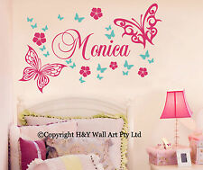 Wall stickers ebay butterfly flowers custom personalised name wall stickers kid girls nursery decor gumiabroncs Choice Image
